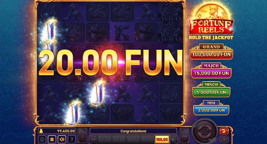 Скриншот выигрыша в Fortune Reels